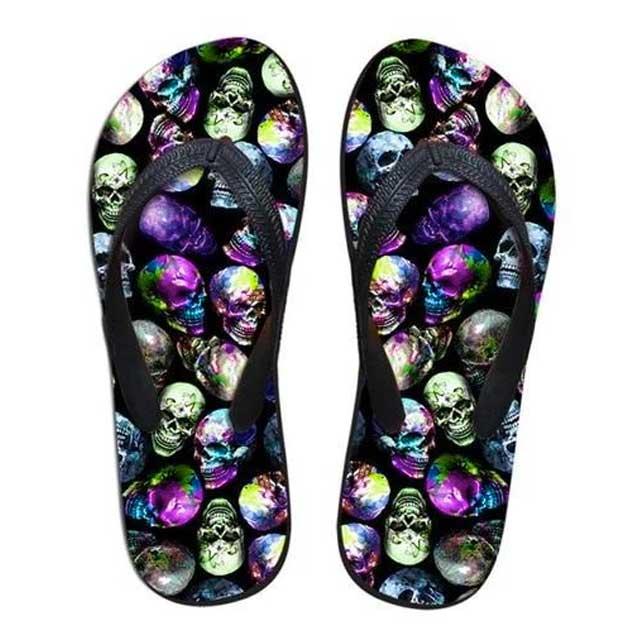 Multicolored Skull Flip Flop