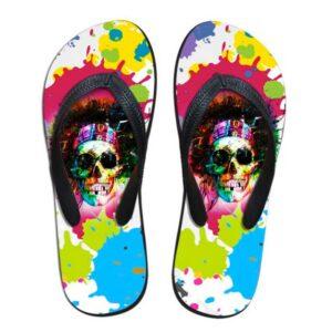 Multicolor Skull Flip Flop