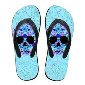 Blue Skull Flip Flop