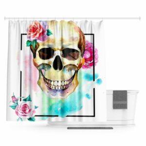 Flowered Skull Shower Curtain