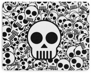 Black and White Skull Mouse Pad