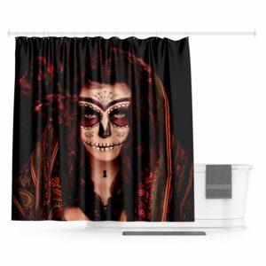 Santa Muerte Skull Curtain