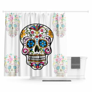 Mexican Skull and Crossbones Curtain