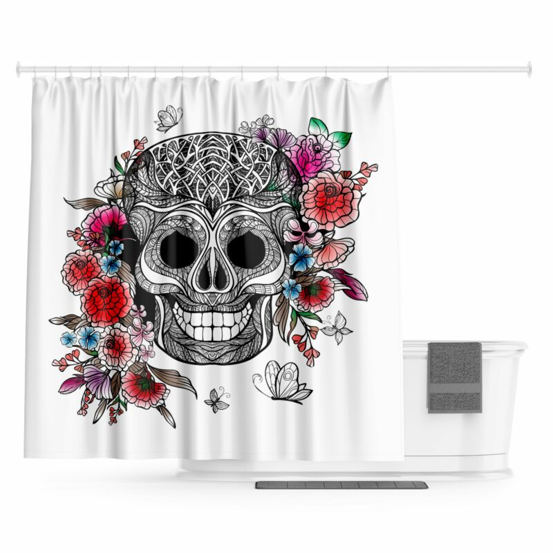 White Skull Shower Curtain
