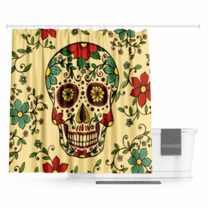 Colorful Mexican Skull Curtain