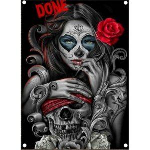 Skull and crossbones Mexican woman flag