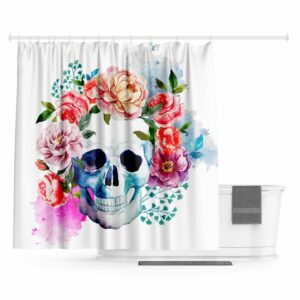 Flowered Skull Curtain