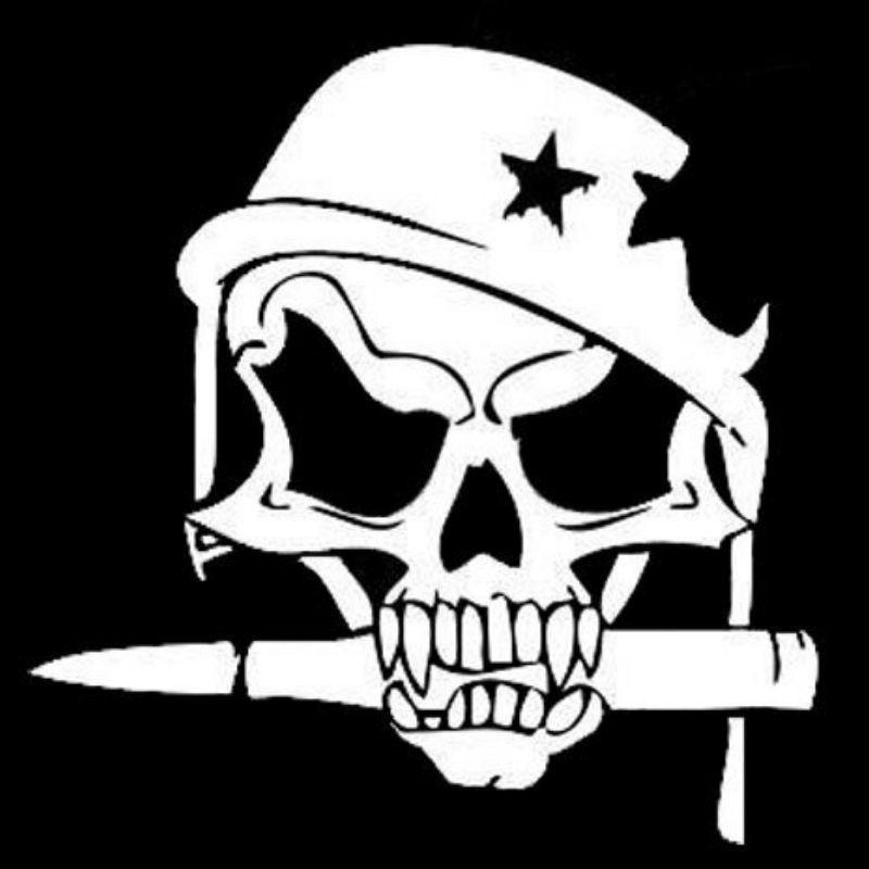 Sticker skull helmet killer us