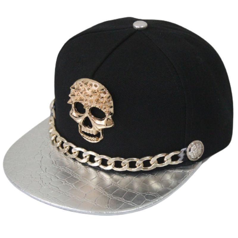 Silver chain hip hop cap