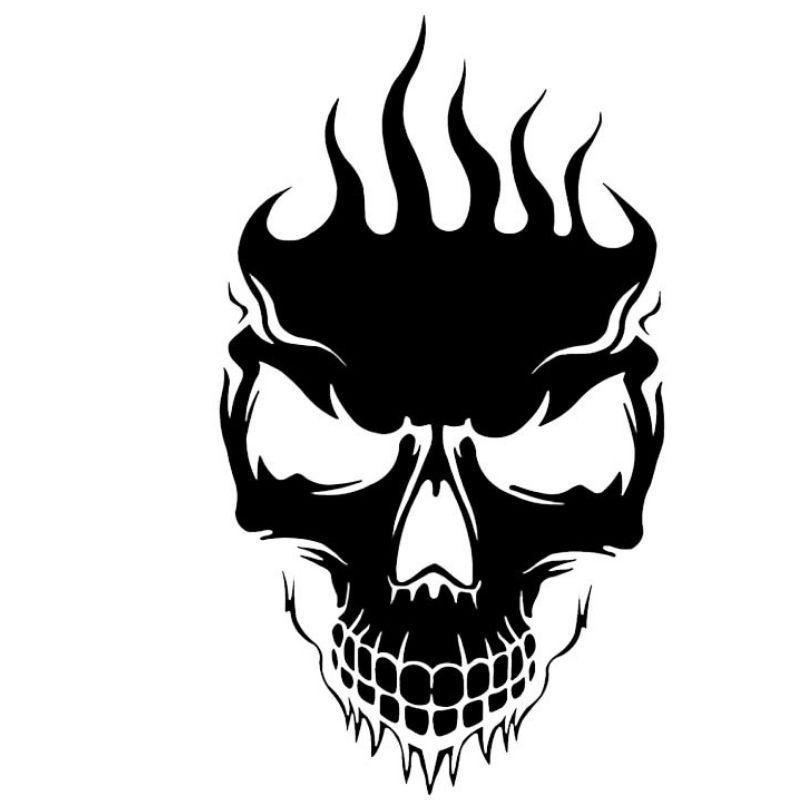 Black and White Skull Sticker