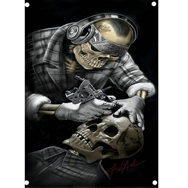Skeleton Tattoo Flag