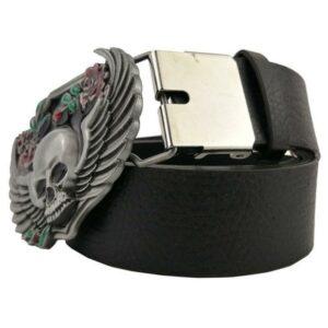 Winged skull belt