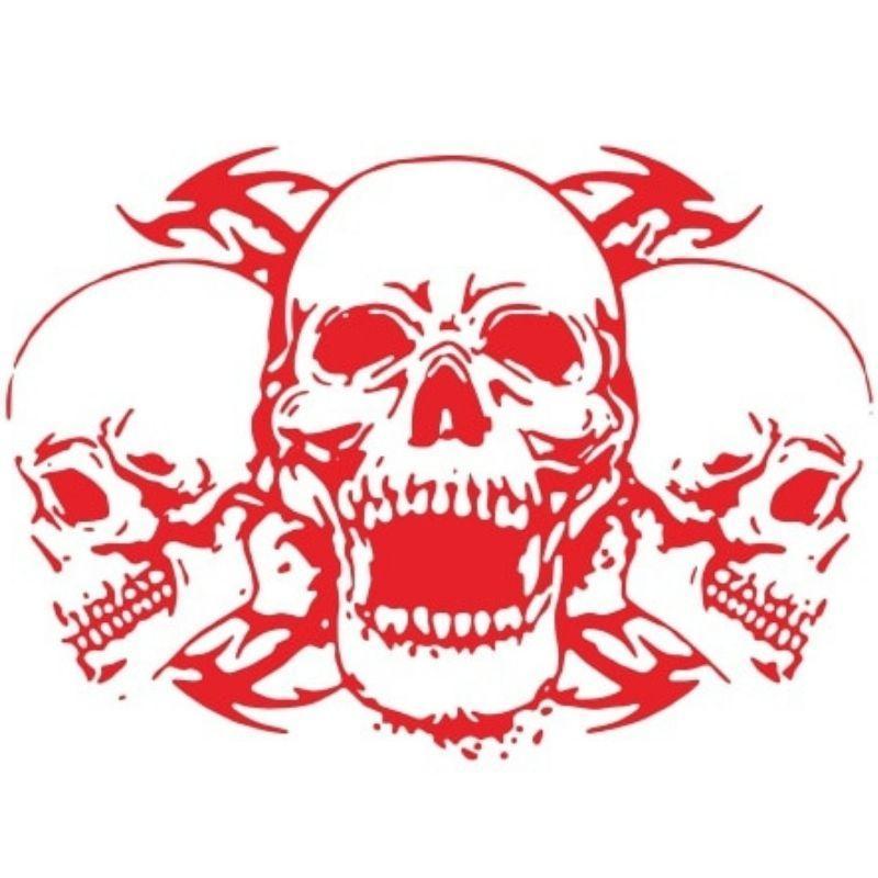 Red skull stickers car hood