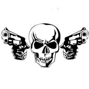 Skull & Crossbones Gun Sticker