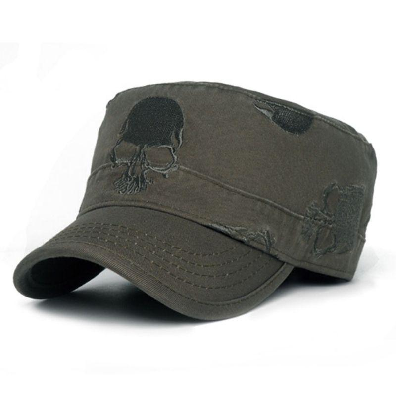 Military style embroidered skull cap