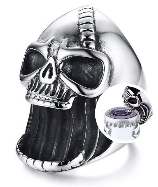 Death's head bottle opener ring