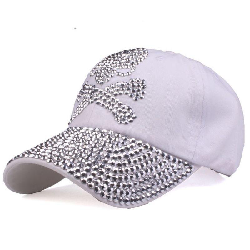 white rhinestone cap skull design