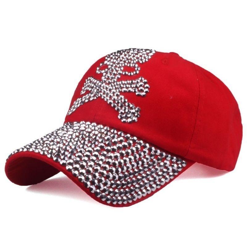 Red rhinestone pirate cap