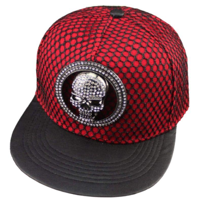 Red openwork fabric cap with shiny skull
