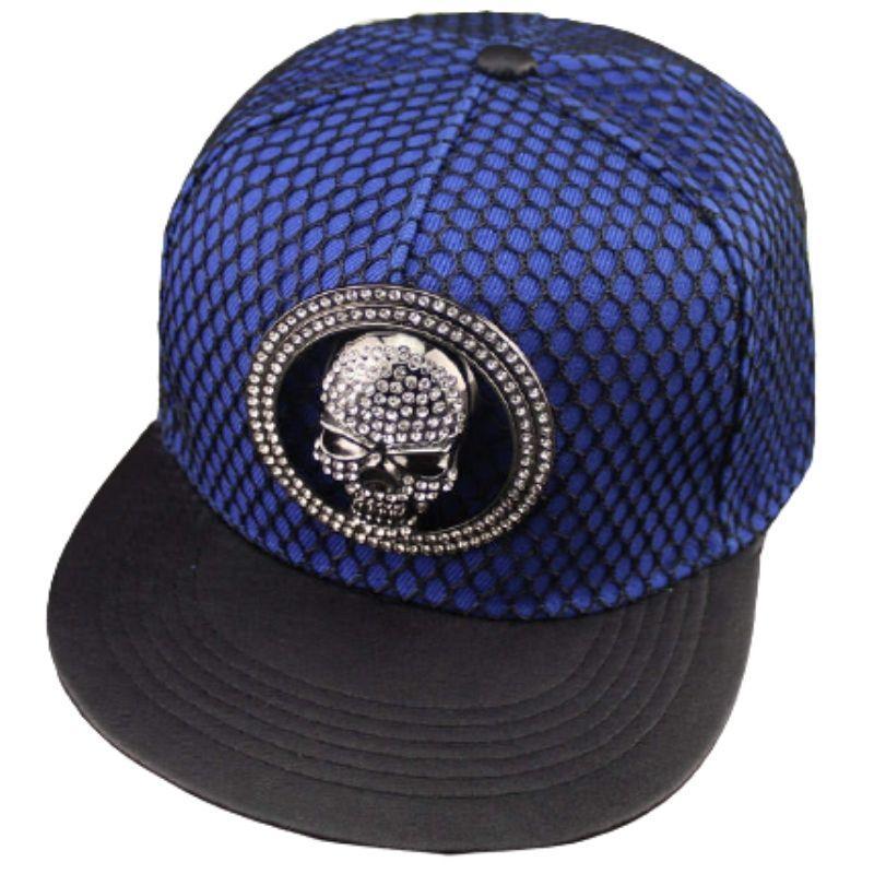 Blue skull net cap