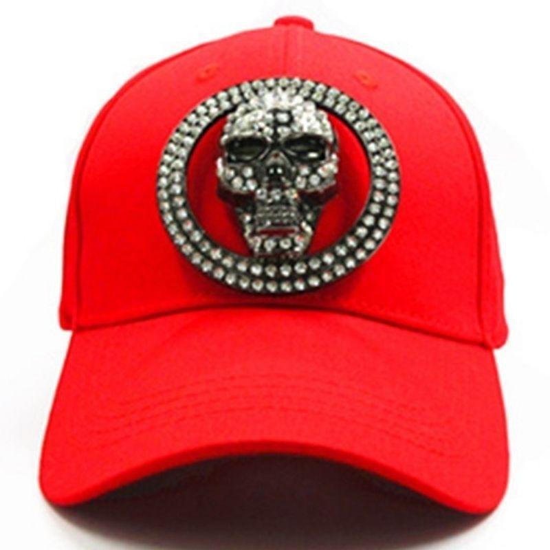 Red skull rhinestone cap