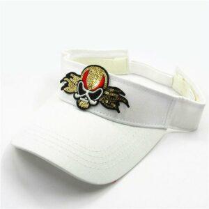 White cotton glitter star skull cap