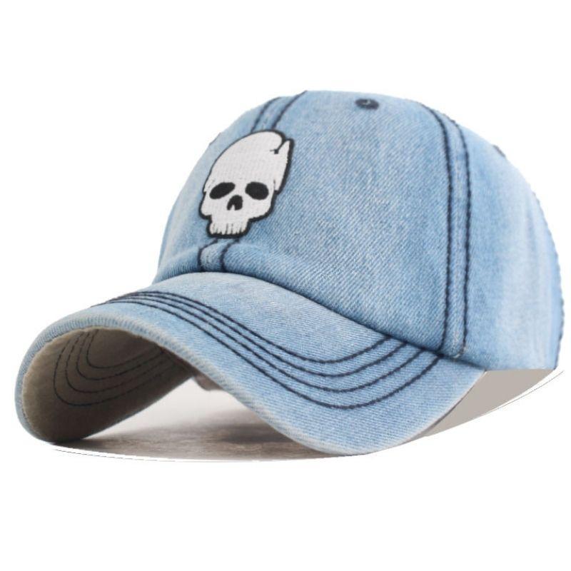 Light denim cap with skull