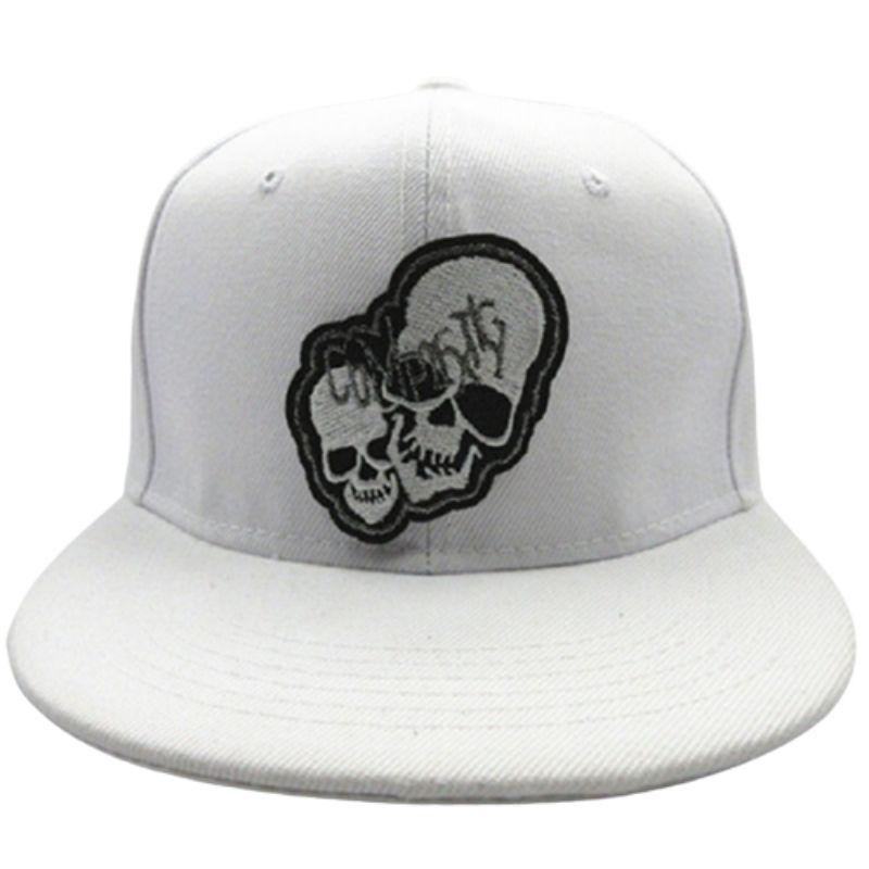 white cap double skulls
