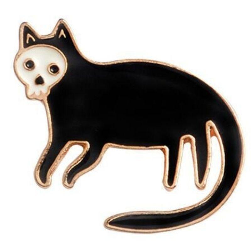 Black cat skull pin in gold
