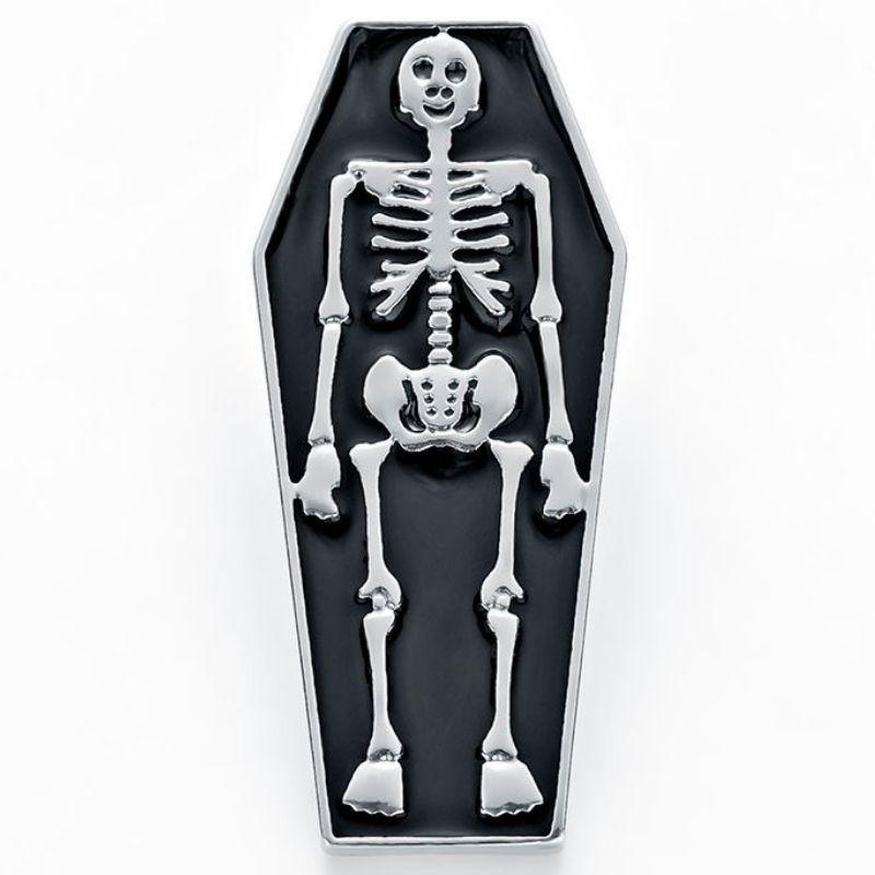 Skeleton on Coffin Pin
