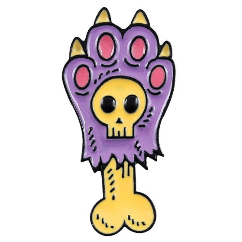 Purple bear paw skull pin