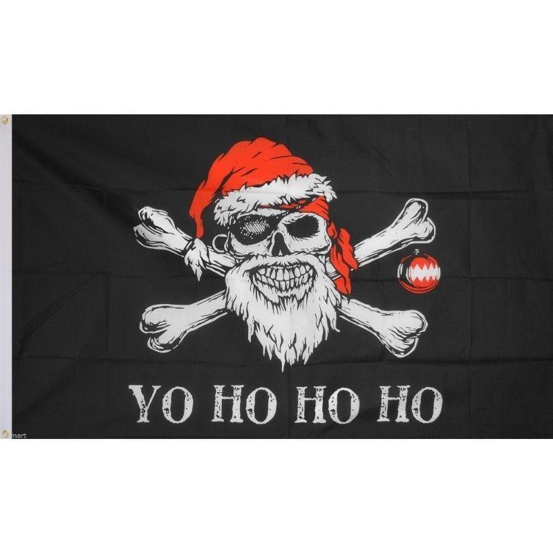 Skull and crossbones Christmas flag