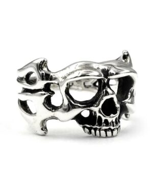 Silver Biker Man Ring