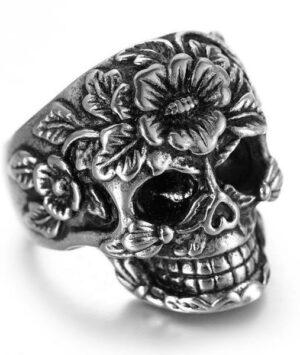 Flowery skull ring