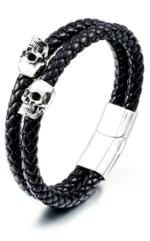 Skull Leather Bracelet for Men