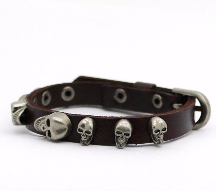 Brown Leather Skull Bracelet