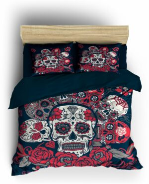 Mexican Skull Duvet Cover with Rose