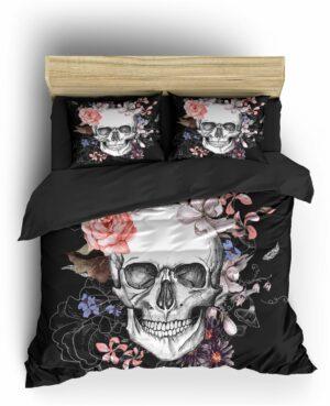 Comforter Cover Skull & Crossbones Flowers