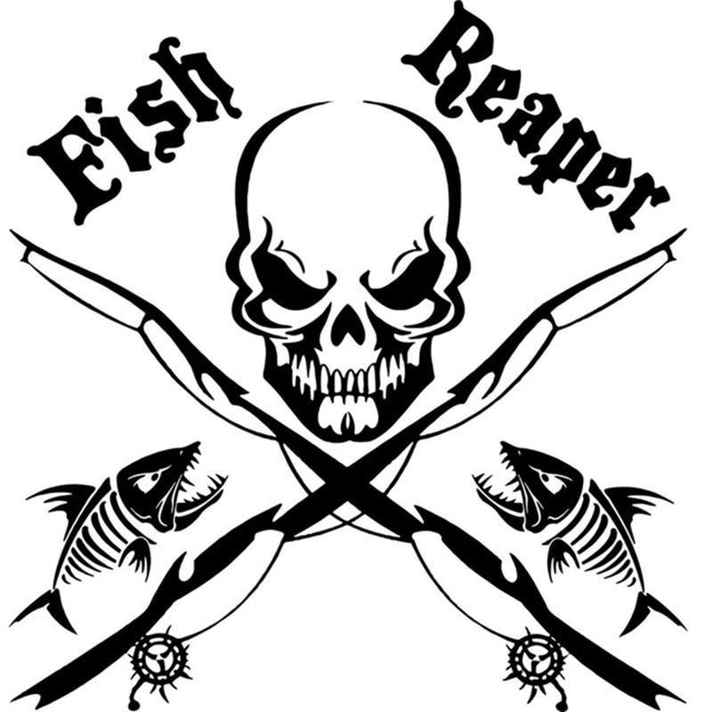 pro fisherman skull stickers
