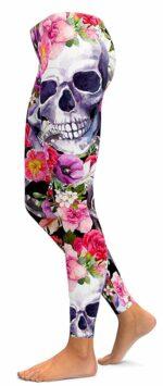 Skull Legging With Flowers