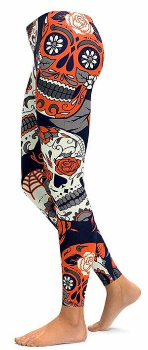 Orange Skull Legging