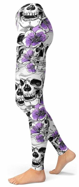 Mexican Skull Legging With Flowers