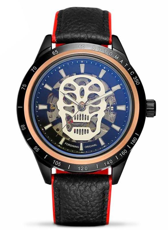 Men's Automatic Leather Skull Watch