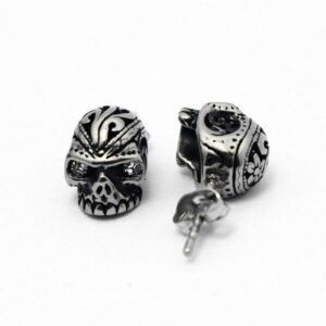 Steel Executioner Skull Earrings