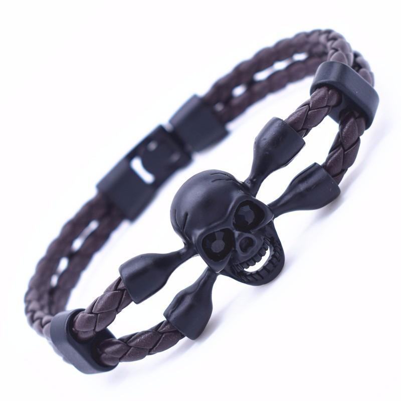 Leather Bracelet Skull Man