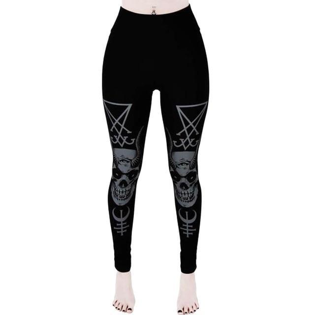 black skull leggings