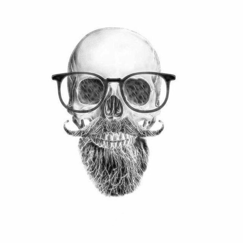 Hipster Skull Transfer