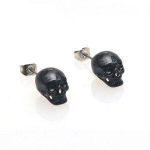 Death's Head Earrings Black Darkness
