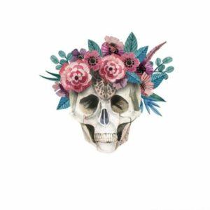 Flowered Skull Transfer