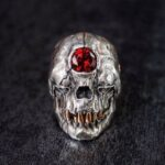 Red Crystal Eye Skull Ring